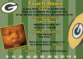 bay bay baby green bay packers football baby shower birthday invitation 19 99