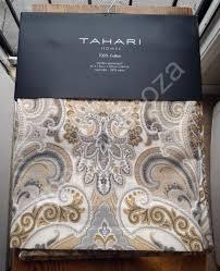 new tahari gray blue tan medallion damask window curtain panels