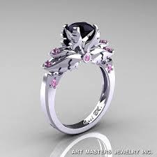 black wedding rings with pink diamonds classic blazer 14k white gold 1 0 ct black light pink