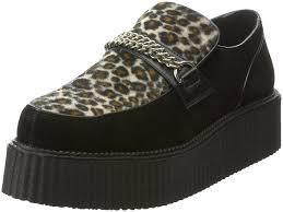 demonia 2 p f chained veggie creeper shoe black suede cheetah fur