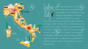 Map Of Venice Map Of Italy Vector Illustration Design Icons With Italian