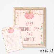 pink pumpkin baby shower predictions advice printable fall