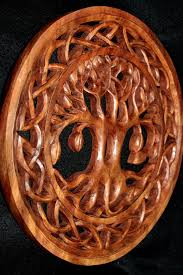 celtic knot tree of carved wood wall panel acadia