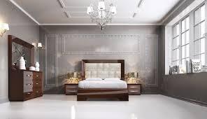 Modern Queen Size Bed Frame Carmen Walnut Queen Size Bed Carmen Esf Furniture Modern Bedrooms