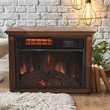 large room infrared quartz electric fireplace heater honey oak