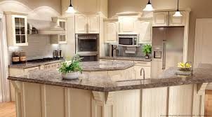 Cream Kitchen Cabinets With Glaze Beige Kitchen Decorating Idea Feat Trendy Curved Breakfast Table