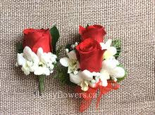 Corsage And Boutonniere Set Corsage And Boutonniere Set For Prom With Red Roses And Orchids