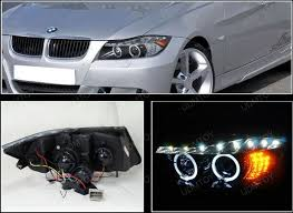 eye bmw headlights 06 08 bmw e90 black r8 halo projector led headlights