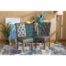 habit faux leather tufted parsons dining chairs set