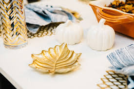 gold leaf dish thanksgiving white pumpkin salt and pepper shakers