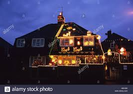Christmas Lights On House by Semi Detached House Covered In Christmas Lights Celebrating
