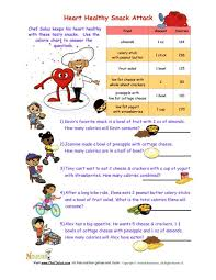How Many Calories Cottage Cheese by Heart Healthy Snack Attack Math Worksheet For Kids