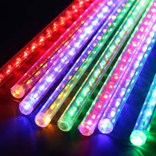 led meteor shower tube lights amazon com agptek 50cm 8 tube 240 leds rgb multi color meteor