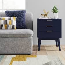 Navy Side Table Navy Blue Nightstand Blue Distressed Nightstand Blue Chalk Style