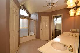 brown wall paint color with white doors for traditional bathroom