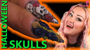 halloween 3d acrylic skull designs naio nails tutorial
