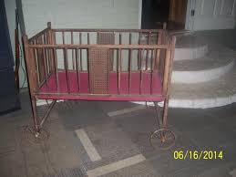 online auction for antique vintage gem wood baby crib bed with