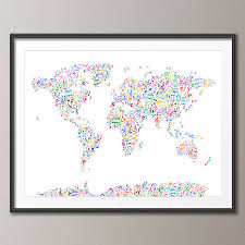 World Map Framed Music Notes Map Of The World By Artpause Notonthehighstreet Com