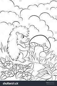 coloring pages little cute hedgehog sees stock vector 397344343