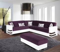 Purple Sectional Sofa Sectional Sofa Convertible In Purple Microfiber By