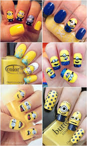 despicable me minions nail art designs yellow and blue nails