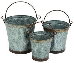 Rustic Charm Home Decor Set Of 3 Metal Buckets Large Rustic Charm Home Patio Garden Decor