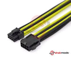 cable combs 8 pin pcie gpu 30cm black yellow sleeved extension shakmods 2