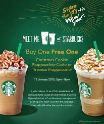 free samples and good deals starbucks buy 1 free 1 promotion