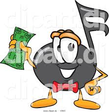 vector of a cartoon music note holding a dollar bill by toons4biz