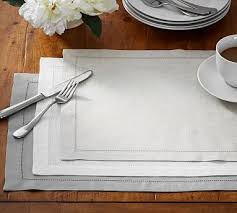 pottery barn table linens pb classic belgian flax linen hemstitch placemat set of 4 blue jay