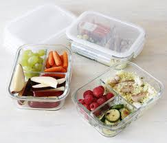 Food Storage Glass Containers 3 Compartment Glass Meal Prep Containers With Vented Lids 30 Oz