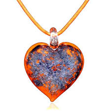 necklace pendants heart images Murano glass orange heart with purple pendant necklace necklace jpg