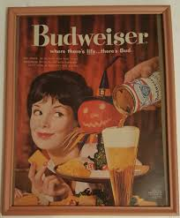 framed vintage 1960 budweiser beer halloween party ad by