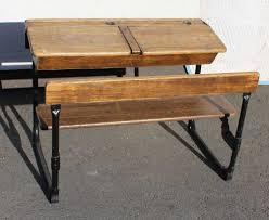 1920s oak double school desk and bench seat