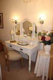 simple white small wooden antique vanity table design with elegant