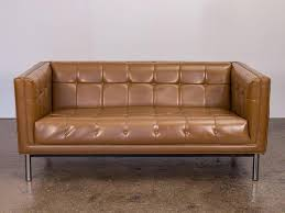 Beige Tufted Sofa by Mid Century Modern Cognac Tufted Sofa At 1stdibs