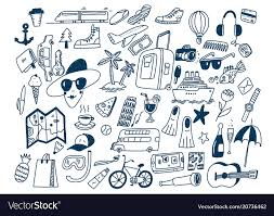 travel symbols images Hand draw doodle travel symbols tourism and vector image jpg