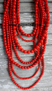 beaded red necklace images 7 strands of bright red beaded necklace jpg
