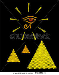 embroidery pyramids eye horus isolated stock vector