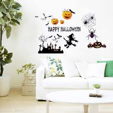 happy halloween witch wall stickers diy home decor decals poster