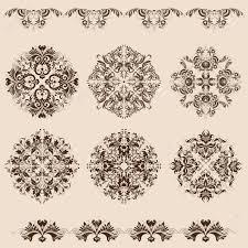 set of damask filigree ornaments royalty free cliparts vectors