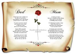 Wedding Poems For Invitation Cards A4 Personalised Joint Poem To Mum And Dad On My Wedding Day Mother