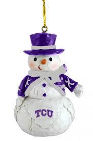 tcu horned frogs woodland snowman ornaments sports merchandise
