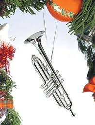 silver trumpet musical instrument ornament new