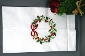 embroidered christmas gold christmas wreath guest towel