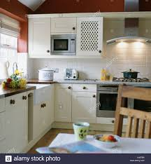 microwave with extractor fan microwave oven fitted in wall cupboard in white cottage kitchen
