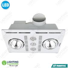 white profile plus 2 heat bathroom exhaust fan with 3 x 6w led