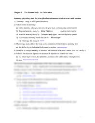 Human Anatomy Physiology Pdf Chapter 1 Outline Human Body An Orientation Outline Pdf At