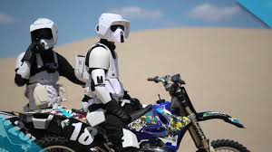 remote control motocross bike star wars scout troopers performing tricks on dirt bikes