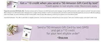 promotion black friday amazon send a 50 amazon gift card by text receive a 10 promotional